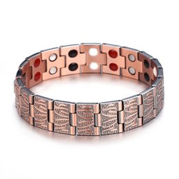 Catena a mano magnetica online-Cool Vintage Luxury Wooden Pattern Chain Male Gift Gift Accessories Magnetic Health Power Bracciale Luxuri Pure Copper Bracciale da uomo