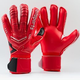 Wholesale plain gloves - Brand Professional Goalkeeper Gloves For Men 4 Colors Goal keeper Gloves Finger Protection Thickened Latex Soccer Gloves Free Shipping