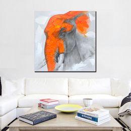 2019 pintura abstracta del elefante Pintado a mano dibujos animados abstractos pinturas al óleo sobre lienzo decoración para el hogar arte de la pared pintura grande hecho a mano elefante naranja fotos regalos pintura abstracta del elefante baratos
