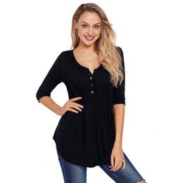 4093e177f5c BLUETIME Women's Roll Up Long Sleeve Button Flowy Swing Tunic Tops Henley  Shirts