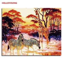 2019 pinturas a óleo de girafa HELLOYOUNG DIY Pintura A Óleo Pintado À Mão Zebra Girafa Pintura Digital por números pinturas a óleo pinturas a ... pinturas a óleo de girafa barato