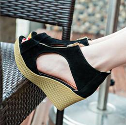 Плюс Большой Размер: 35-41 Весна Лето Женщины Замша Сандалии Клинья Peep Toe Открытым Носком Высокие Каблуки Стильные Сандалии Slingback Молния supplier stylish women summer heels от Поставщики стильные женские летние каблуки