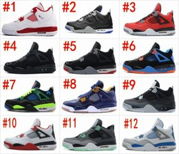 Wholesale Clear Military - Retro 4 Alternate 89 Shoes Mens 4s BRED Royalty White Cement Fear Pack Fire Red Green Glow Sports Sneakers Military Blue Motorsport oreo