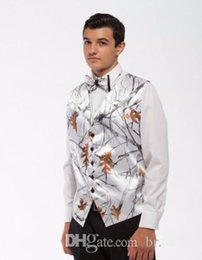 Wholesale Realtree Vest - 2018 Hot Realtree Camo Mens Vest with Four Buttons Snowfall White Camo Formal Tuxedo Prom Vest for Man Custom Made
