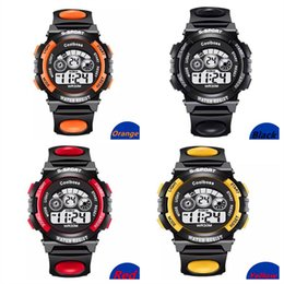 Wholesale Led Watches For Girls - Multi-function Children's Watch Boys Girls LED Digital Electronic Wristwatch Luminous Alarm Clock Calendar Water-resistant Watches For Kids