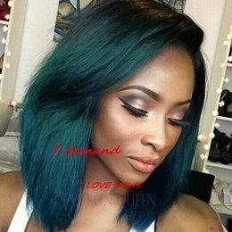 Wholesale Green Hair Wigs - Ombre Black girl fashion wig Short Straight Wigs Synthetic Hair Green Wigs for Black Women, black hair to heat test