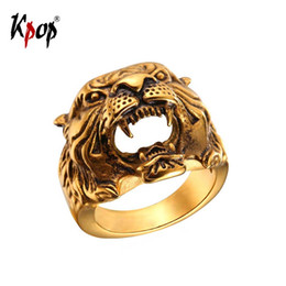Wholesale kpop rings - Kpop Big Tiger Ring Male Gold Color Stainless Steel Black Animal Retro Rock Punk Men Jewelry Gift R2467