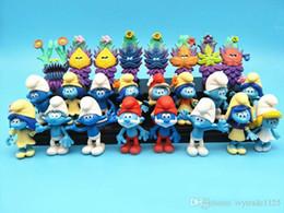 NOVO 24pcs Set Smurfs The perdeu Figuras Vila Elves Papa Smurfette Clumsy Ação máscara mistério bolo Topper Play Set Toy de