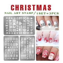 2019 celebrar o natal Projetos de Comemorar de natal Nail Art Stamping Placas Flores Modelos Polonês Selo Retângulo stencil Naill arte decorações celebrar o natal barato