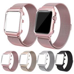 Caja de la correa de la correa del reloj de acero inoxidable milanes Epacket + cubierta para Apple Watch Series 1 2 3 iWatch 38mm / 42mm desde fabricantes