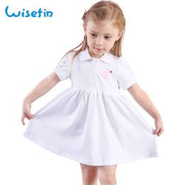 Wholesale straight wedding dress short sleeves - Wisefin Girl Summer Cotton Dress Sweet Solid White Short Sleeve Toddler Angle baby Wedding Party Dress 2018 New Kids Dresses