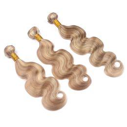 Canada Piano Extension de cheveux Body Wave Blonde Mix Bundles de cheveux # 27 et # 613 Blonde Body Wave Extension de cheveux Raw Indian Bundles 3Pcs / Lot cheap raw indian body wave hair Offre