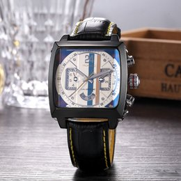 Wholesale Square Watch Date Leather Mens - New AAA High quality mens watches luxury brand day date square dial leather strap mechanical automatic fashion wrist watch for men relogios