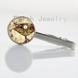 Wholesale Clocks Images - Steampunk Cat image tie clips punk Clock creative art picture necktie clamp pin high quality men wearing accessory jewelry NS296