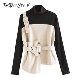 Wholesale Turtleneck Tops For Women - TWOTWINSTYLE Woolen Pullover For Women Turtleneck Long Sleeve Patchwork Sashes High Waist Tops Spring 2018 Fashion Ol Clothing
