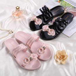 Wholesale Wholesale Gladiator Heels - Flower women sandals slippers crystal antiskid beach shoes plastic soft bottom sandals summer slippers balck pink