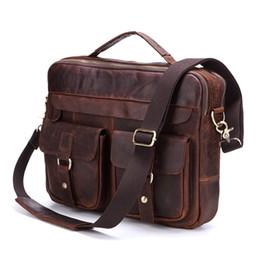 Wholesale Ipad Briefcases Leather - Nesitu Promotion Vintage Genuine Leather Men Briefcase Messenger Bags Shoulder Bag Portfolio ipad Bag for A4 Paper #M207