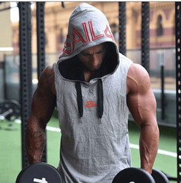 Wholesale Tshirt Vest Men - Summer Athletic Tank Tops Men Slim Fit Letters Hooded Sleeveless Tshirt Vests Active Clothing
