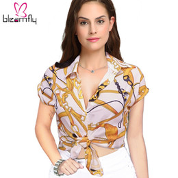 Wholesale black tie neck blouse - 2018 Summer Vintage Gold Chain Printed Women Blouse Elegant Short Sleeve Black White Shirts Bow Tie Turn Down Collar Female Tops