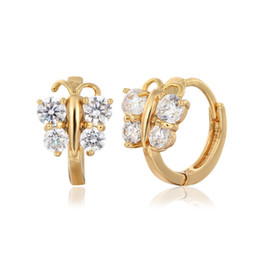 Wholesale Hoop Earrings For Girls - 5 colors Baby Girls Small Round Circles Huggies Hoop Earrings Gold Color Butterfly Cubic Zircon Jewellery For Kids Children Aros