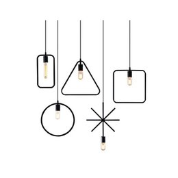 Wholesale finish one - Free Shipping One Sample Metal New Style Geometrical Figure Simple Iron Black Finished LED Pendant Lamps For Dining Room(DK-60)