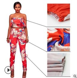 Wholesale Pink Lotus Clothing - Wrap chest lady suit Two pieces of set Lotus leaf print jacket + trousers suits Pink red green women's clothes hot sale