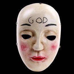 Máscara humana completa online-La Purga Cara Completa Máscara de Resina Terror Película Plan Humano Claro Dios Máscaras Cruzadas Fiesta de Disfraces de Halloween Disfraces de Cosplay Accesorios