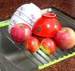 Gemüse Abtropffläche Regal Edelstahl Spüle Trockner Rack Klapphalter Roll Up Küche über Schüssel Obst von Fabrikanten