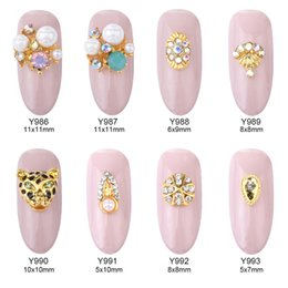 Wholesale Nails Accessories 3d Metal - 50pcs glitter nail art 3d jewelry decorations leopard design nail rhinestones gold metal charms nails accessory stickers supplies Y986~993