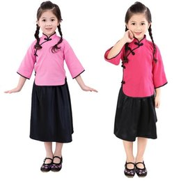 Wholesale wholesale school girl outfits - Hooyi Girls School Clothes Suits Fashion Children Jumper Skirts 2-pieces Sets Chinese Costumes 100% Cotton Qipao Sets 6-16 Dress Outfits