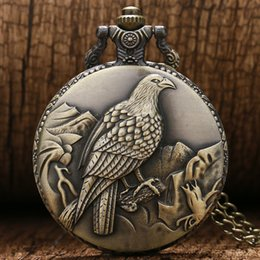 Wholesale Vintage Eagle - Bronze Vintage Eagle Pattern Quartz Pocket Watch Men Women Fob Watches with Necklace Chain Analog Clock Gift