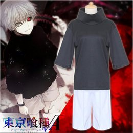 Tokyo ghoul cosplay kaneki online-Anime Tokyo Ghoul Kaneki Ken Costumi cosplay Set completo (Top + Pantaloncini) Costume dimensione giornaliera S-XXL