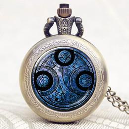 2019 quartz online Relógio de Bolso do vintage Doctor Who Design Rodada Azul Fob Relógio De Quartzo Das Mulheres Dos Homens Chique Presente Pingente de Venda Online quartz online barato
