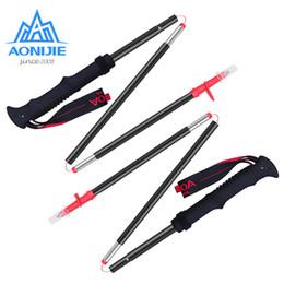 Быстрые палочки онлайн-2pcs AONIJIE E4070 E4093 Tri-fold Folding Ultralight Quick Lock s Hiking Pole Walking Running Stick Aluminium Alloy