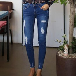 3b15bfb96ed3 Wholesale- Women s Slim Jeans New Style Girls Capris Trousers Blue Ripped  Denim Jeans Plus Size 3 4 5 XL WM24