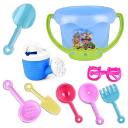 Wholesale Wholesale Sand Buckets - 9PCS Baby Playing With Sand Water Beach Bucket Sunglass Toys Set Dredging Tool For Children Baby Kids Sandy Beach Toy Novelty Items OOA4961