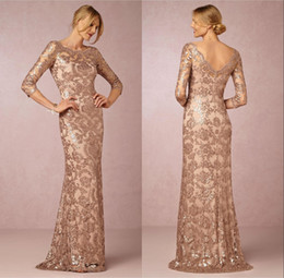 Wholesale Gold Rose Bride Dress - 2018 Rose Gold Mother of the Bride Dresses Neck Long Sleeve Vintage Lace Sweep Train Formal Evening Party Wear