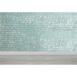Pared de ladrillo prop online-Pared de ladrillo verde claro Fotografía Telones de fondo Suelo de madera Recién nacido Baby Shower Props Niños Niños Foto de boda Fondos de estudio