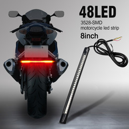 "Wholesale motorcycle strip lights - Motor Motorcycle LED Tail Lights Strip 3rd Brake Stop Turn Signals 48 Bulbs 3528 SMD 8"" Flexible Plate Licenses Bar for Harley Davidson ATV"