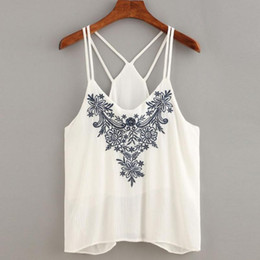 Wholesale Embroidered Sleeveless Shirt Woman - Sexy Backless Halter Cami Crop Top Women Fashion Flower Embroidered Shirts Ladies Sleeveless Strappy Summer White Red Black Tops