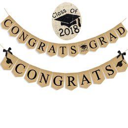 Wholesale Rustic Linens - 2018 Congrats grad Cap Banner Hanging Linen Flag Burlap Pennant Vintage Rustic School Class Graduation Party Decoration