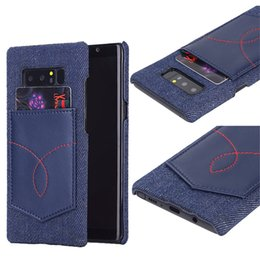 Wholesale Blue Jeans Cover - Denim Jeans Style Leather Card Pocket Cellphone PC Protective Back Cover Case For iPhone X 8 7 6s 6 Plus Samsung Note 8 S8 Plus Opp Bag