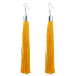 Wholesale Big Yellow Earrings - Ethnic Vintage Big Yellow Long Tassel Earrings Simple Maxi Green Silk Thread Ethnic Bohemian Earrings For Women Jewelry Gift 2018 wholesale
