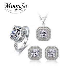 Moonso Multicolor Hochzeit Bridal für Bräute Tropfen Ohrring Halskette für Frauen Real Sterling Silber 925 Zirkon Schmuck Sets D0905 von Fabrikanten