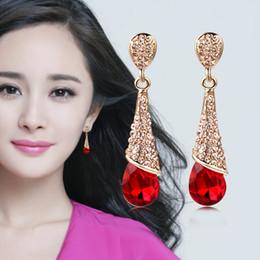 Wholesale Diamond Drop Earrings 14k - Crystal Czech Diamond Drop Dangle Wedding Earrings Classic Swarovski Elements 2 Colors Optional Fashion Women Girls Earrings Gift Jewelry