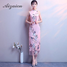 Pink Lace Sexy Cheongsam Katoen Stickerei Women Oriental Vintage Qipao  Wedding Dress Long Evening Gown China Party Dresses 40849375d542