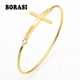 Wholesale Stainless Steel Small Crosses - whole saleFashion Gold Sideways Cross Faith Christian Stainless Steel Cross Bracelet Simple Tiny Small Horizontal Bracelets