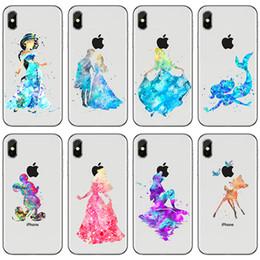 Wholesale princess snow - Phone case For iPhone 5 5S 6 6S 7 8 Plus X cartoon princess mermaid snow white cinderella pattern Soft TPU back Cover Coque Fundas+protector