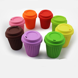 Wholesale silicone coffee cup covers - Coffee Cup Silicone With Cover Travel Accompanying Vehicle Food Grade Soft Multicolor Non Odor High Temperature Resistance Mugs 12ws Z