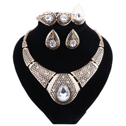 Wholesale Costume Jewelry Diamond Sets - New Fashion Diamond For Women Wedding Bridal Accessories Party Gold-color Jewelry African Beads Costume Jewelry Sets